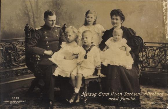 Ak Herzog Ernst II. von Sachsen Altenburg nebst Familie, Liesch 1875