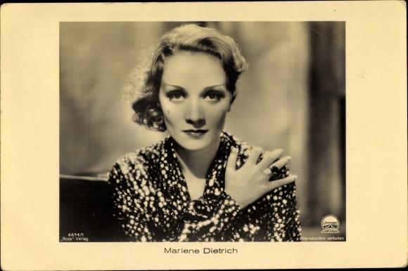 Ak Schauspielerin Marlene Dietrich, Portrait, Ross 6674/1