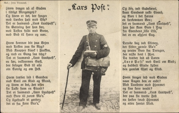 Lied Ak Lars Post, Postbeamter in Dienstuniform, Liedtext Jens Vejmand