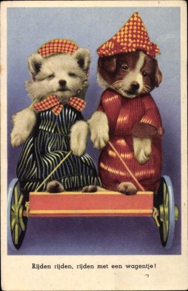 Ak Rijden met een wagentje, Kinderlied, Hunde in einem Wagen