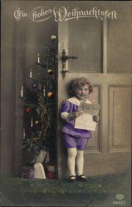 Ak Frohe Weihnachten, Weihnachtsbaum, Geschenke, Kind, Notenblätter, EAS 6853/1