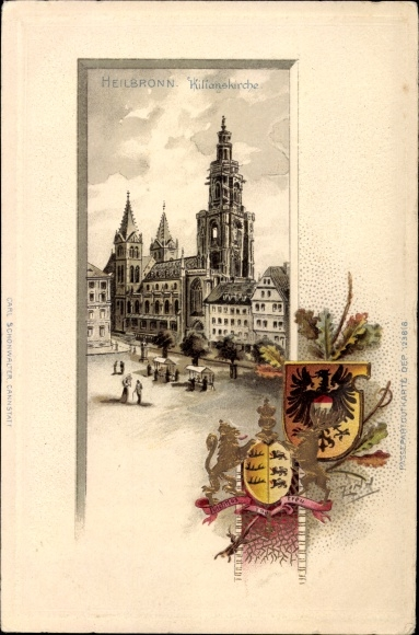 Präge Wappen Litho Heilbronn in Baden Württemberg, Blick auf Kilianskirche