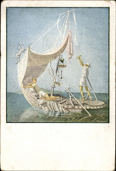 Künstler Ak Lendecke, D., Das Liebesboot, Mann und Frau in einer Gondel