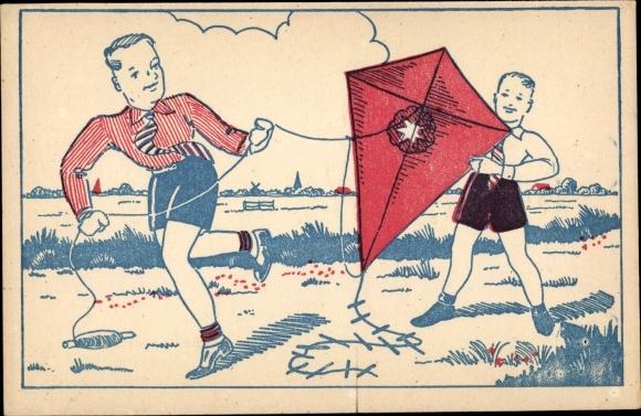 Künstler Ak Zwei Jungen mit einem Flugdrachen auf einem Feld
