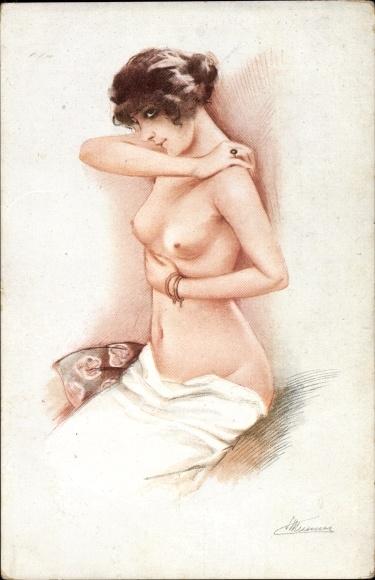 Künstler Ak Meunier, Suz., Les Seins de Marbre, Frauenakt, Busen