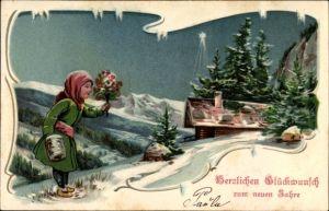 Präge Winter Litho Glückwunsch Neujahr, Frau mit Blumenstrauß, Winterlandschaft