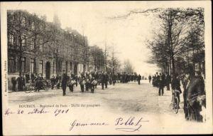 Ak Roubaix Nord, Boulevard de Paris, Défilé des pompiers, Feuerwehr