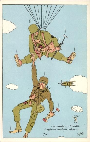 Künstler Ak Fallschirmspringer, Fallschirme, Französische Soldaten, Flugzeug