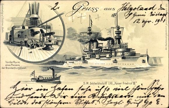 Litho Deutsches Kriegsschiff, SMS Kaiser Friedrich III., Kaiserliche Marine, Vorderturm