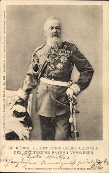 Ak Prinzregent Luitpold von Bayern, Standportrait in Uniform