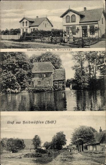 Ak Heidmühlen in Schleswig Holstein, Geschäftshaus von H. Kirchner, Wassermühle, Dorfansicht