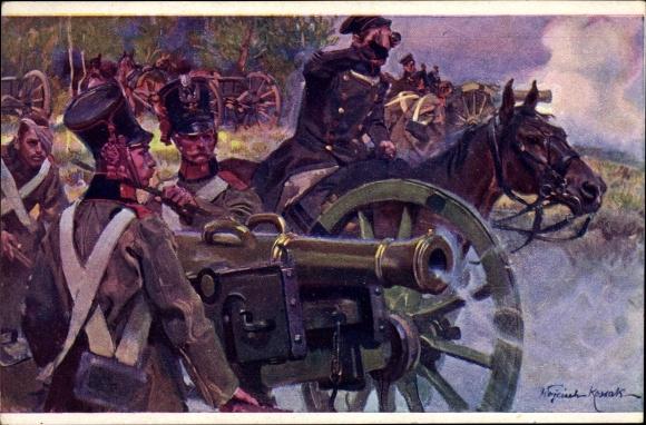Künstler Ak Kossak, W., Polnische Artillerie im Feuer, Kampfszene, Geschütze