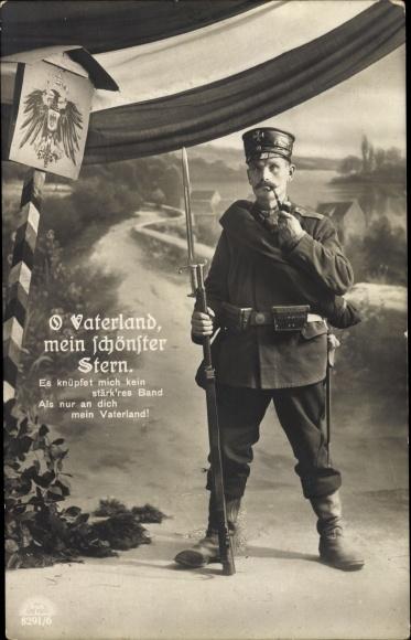 Ak O Vaterland mein schönster Stern, Soldat in Uniform mit Bajonett und Pfeife, RKL 8291 6