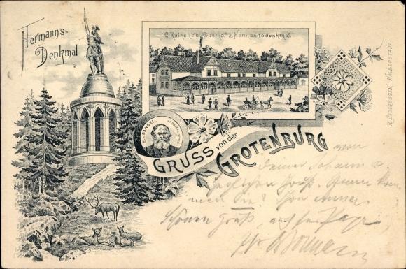 Litho Detmold in Nordrhein Westfalen, Gruß von der Grotenburg, Hermannsdenkmal, Gasthof C. Reineke