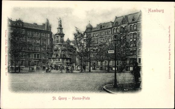 Ak Hamburg Mitte St. Georg, Partie am Hansaplatz, Brunnen, Denkmal