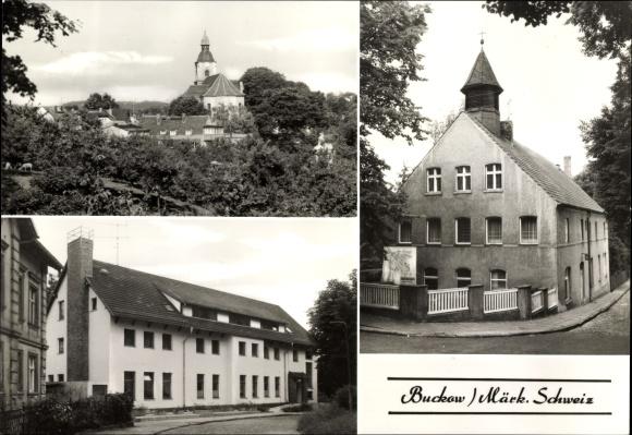 Ak Buckow Märkische Schweiz, Evangelische Kirche, Kgl. Pfarrhaus mit Heilig Geist Kapelle