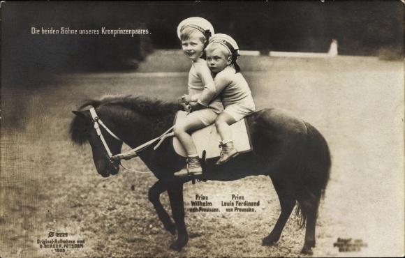 Ak Prinz Wilhelm von Preußen und Prinz Louis Ferdinand von Preußen, Söhne des Kronprinzenpaares