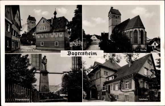 Ak Dagersheim Böblingen in Baden Württemberg, Rathaus, Kirche, Kriegerdenkmal, Schulhaus