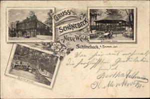 Ak Schönebeck Bremen, Restaurant Neue Weide, Schweizer Hütte, Im kühlen Grunde