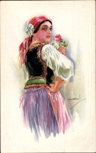 Künstler Ak Usabal, Luis, Portrait einer Frau, Kopftuch, Erkal 324/6