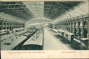 Ak Montevideo Uruguay, Interior de la Estacion del Ferro Carril Central, Bahnhof, Personenzüge