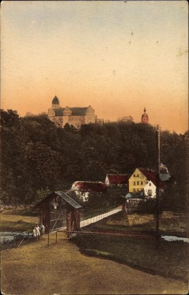 Ak Rochsburg Lunzenau in Sachsen, Gräfliche Schönburg Schloss Rochsburg mit Hängebrücke