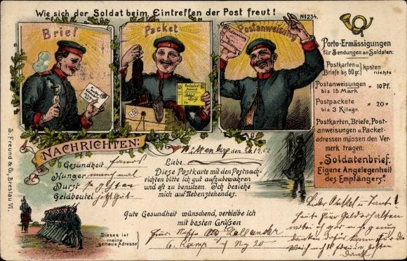 Litho Wie sich der Soldat beim Eintreffen der Post freut, Porto Ermäsigungen, Soldatenbrief