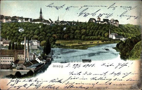 Ak Leisnig an der Freiburger Mulde Sachsen, Flusspartie, Fabrik, Kirchturm
