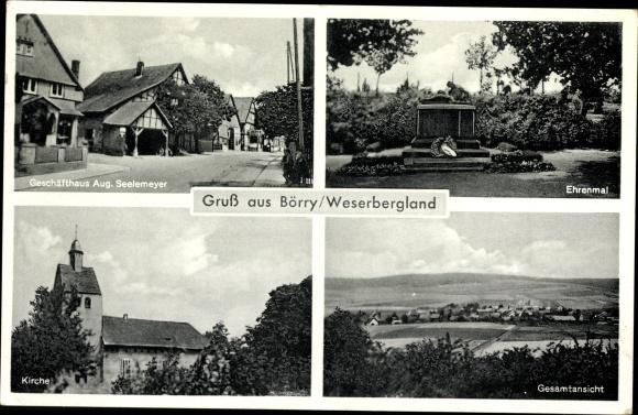 Ak Börry Emmerthal Weser, Geschäftshaus Aug. Seelemeyer, Ehrenmal, Kirche