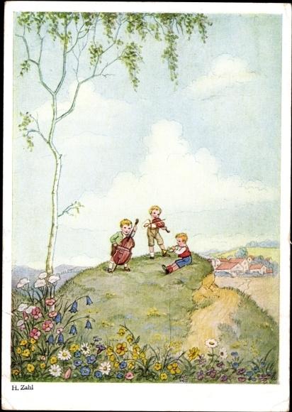 Künstler Ak Zahl, H., Drei Jungen musizieren auf einem Hügel, Primus 2615