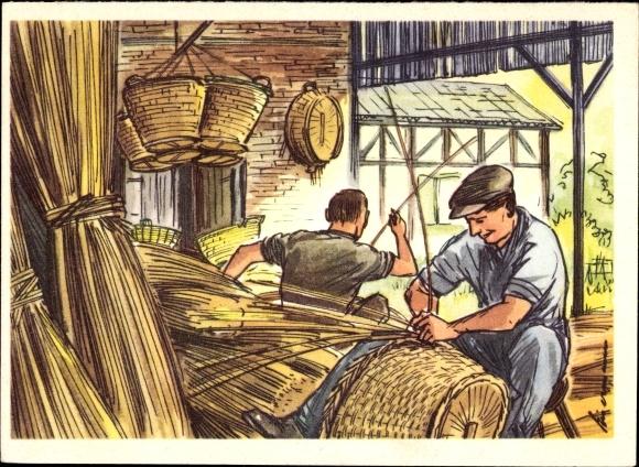 Künstler Ak Korbflechter bei der Arbeit, Handwerker
