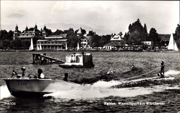 Ak Velden am Wörther See in Kärnten, Wassersport am Wörthersee, Wasserski, Motorboot