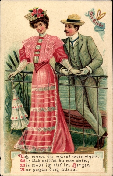 Präge Ak Die Liebe, Mann umgarnt die Dame, Gedicht, Sonnenschirm