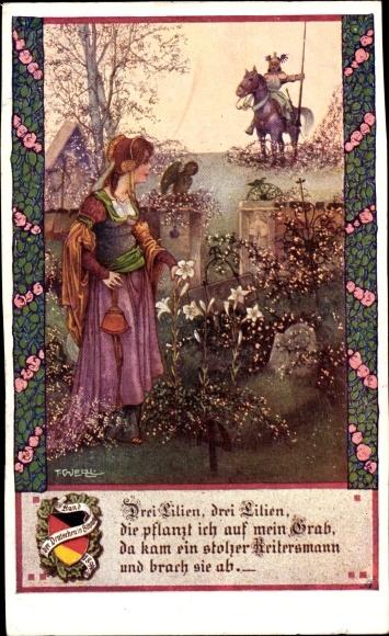 Künstler Ak Welzl, T., Drei Lilien, Drei Lilien...Ritter, Frau im Garten