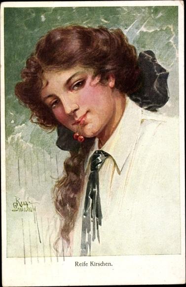 Künstler Ak Reife Kirschen, Junge Frau mit Kirschen im Mund