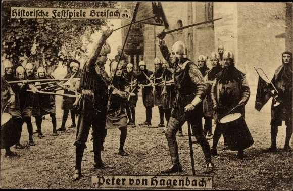 Ak Breisach am Oberrhein Kreis Breisgau Hochschwarzwald, Histor. Festspiele, Peter von Hagenbach