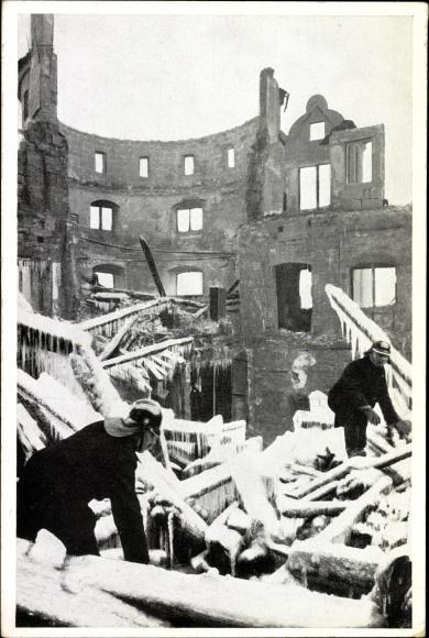 Ak Stuttgart in Baden Württemberg, Brandkatastrophe Dezember 1931, Winter, Feuerwehr