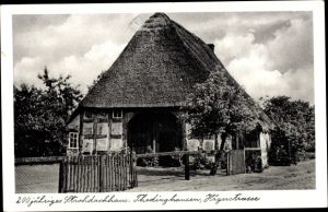 Ak Thedinghausen in Niedersachsen, Jägerstraße, 200jh Strohdachhaus