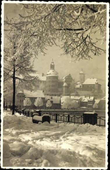 Foto Ak Neuburg an der Donau Oberbayern, Teilansicht der Stadt, Winterzauber