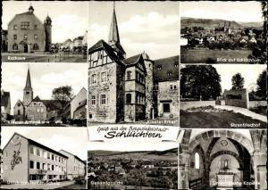 Ak Schlüchtern Main Kinzig Kreis, Rathaus, Klosteranlagen, Kloster Erker, Ulrich von Hutten Schule