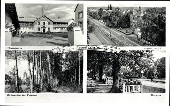Ak Bad Waldliesborn Lippstadt im Kreis Soest Nordrhein Westfalen, Badehaus, Hauptstraße, Birkenallee