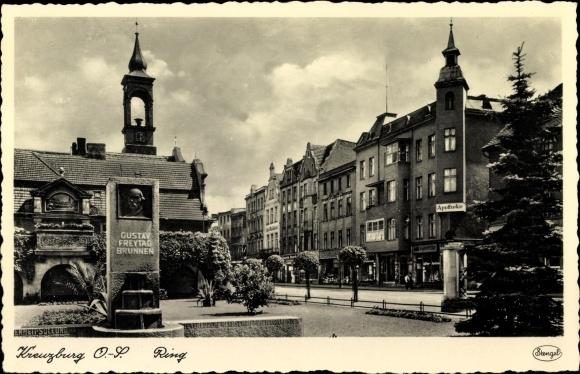 Ak Kluczbork Kreuzburg Oberschlesien, Gustav Freytag Brunnen, Ring