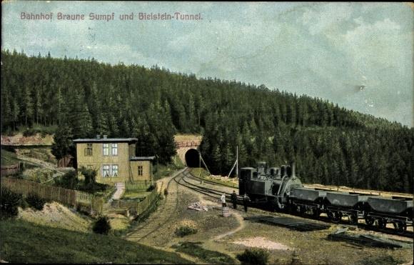 Ak Hüttenrode Blankenburg am Harz, Bahnhof Braune Sumpf, Bielstein Tunnel