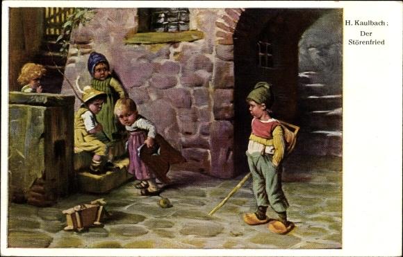 Künstler Ak Hermann Kaulbach, Der Störenfried, Kinder spielen an einer Treppe