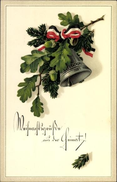 Ak Frohe Weihnachten, Glocke am Tannenzweig, Eichenlaub, I. WK