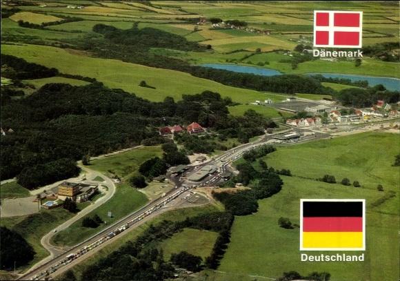 Ak Wassersleben Harrislee in Schleswig Holstein, Deutsch dänische Grenze, Fliegeraufnahme