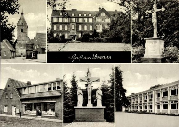 Ak Wessum Ahaus Kr. Borken Nordrhein Westfalen, Pfarrkirche St. Georg, Denkmal, Schule