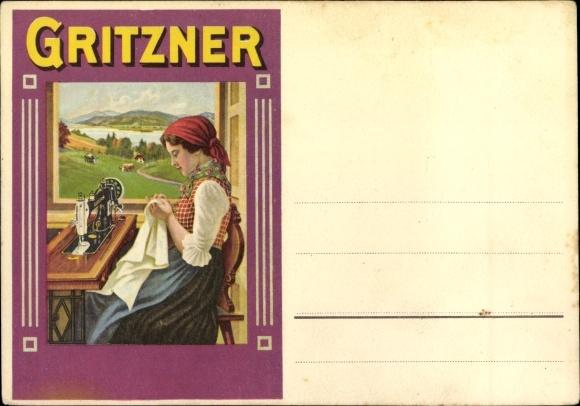 Künstler Ak Gritzner Nähmaschinen, Frau beim Nähen, Reklame