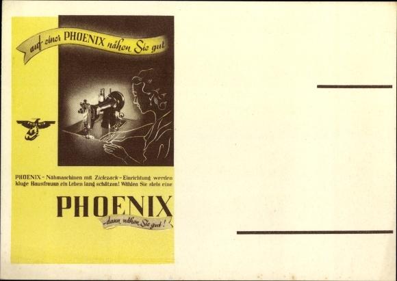 Ak Phoenix Nähmaschine, dann nähen Sie gut, Reklame, Zickzack Einrichtung