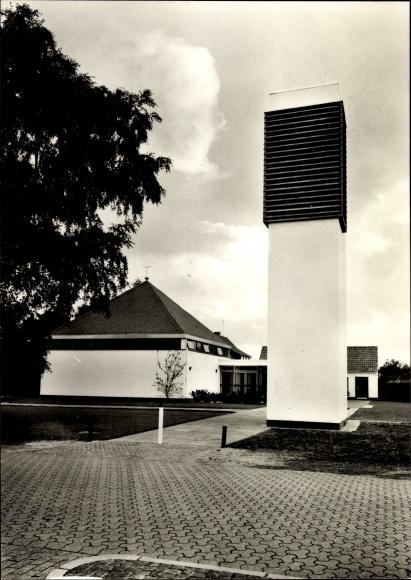 Ak Emstek in Niedersachsen, Die evangelische Kirche von außen gesehen